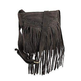Genuine Suede Leather Fringed Shoulder Bag w/Braid Accent