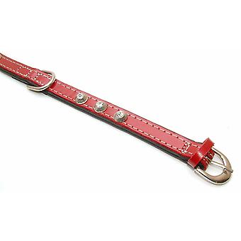 Puppies Cone Leather Collar Red 15mm X 35cm