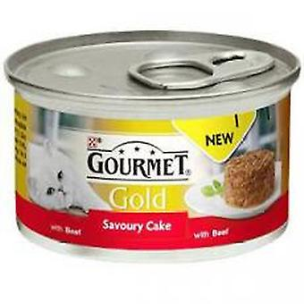 Gourmet Gold Savoury Cake Beef In Gravy 85g (Pack of 12)