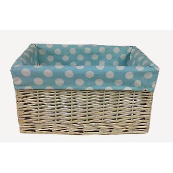 Blue Spotty Lined Wicker Open Storage Basket Extra Large