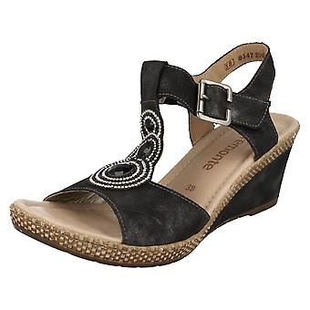 Ladies Remonte T-Bar Wedge Sandals D0452