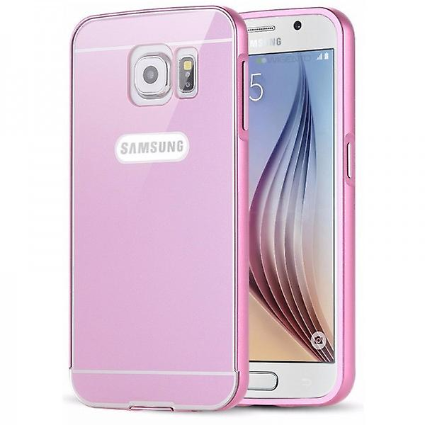 Aluminum Bumper 2 piece pink + 0.3 mm H9 bulletproof glass for Samsung Galaxy S6 G920F