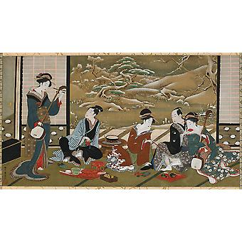Utagawa Toyoharu - A Winter Party Poster Print Giclee