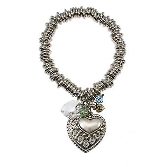 W.A.T Silver Style Embossed Heart Link Charm Bracelet By Martine Wester