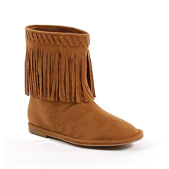 Ellie Shoes E-101-Meeko Flat Children Moccasin Boot with Fringe