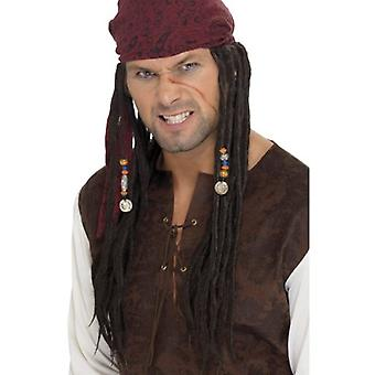 Smiffys Pirate Wig & Scarf Brown With Plaits (Costumes)