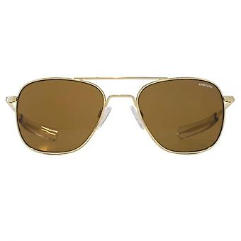 Randolph Engineering Square Aviator Sunglasses In 23K Gold Brown