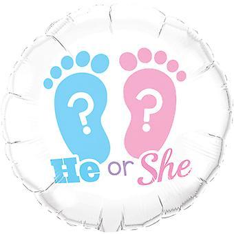 Qualatex He Or She Footprint Foil Balloon