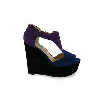 Le mode Bible Rio T Bar plate-forme Wedge chaussures en violet