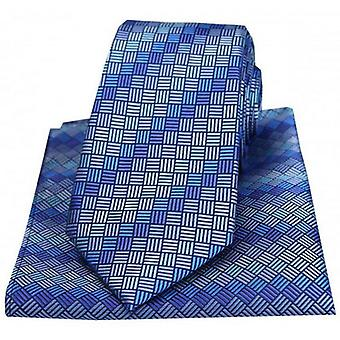 Posh and Dandy Box Pattern Luxury Tie and Pocket Square Set - Blue