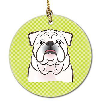 Checkerboard Lime Green White English Bulldog  Ceramic Ornament