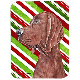 Redbone Coonhound Candy Cane Christmas Mouse Pad, Hot Pad or Trivet