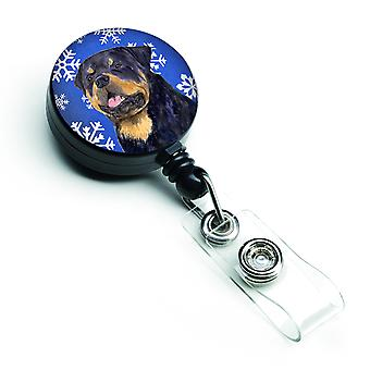 Rottweiler Winter Snowflakes Holiday Retractable Badge Reel