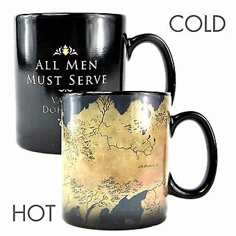 Game of Thrones Mug Heat Changing Westeros Map new Official Black Boxed