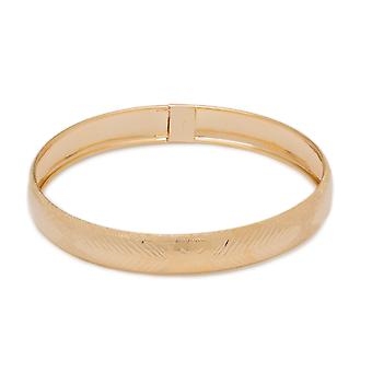 """10k Yellow Gold bangle bracelet Flexible Round with Leaves and Bow Tie Design (0.5"""")"""