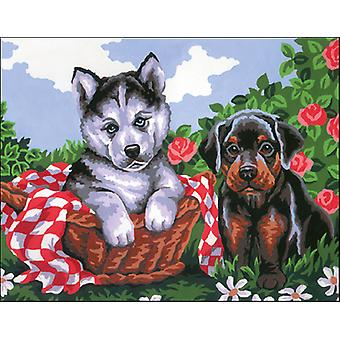 Collection D'Art Stamped Needlepoint Kit 22X30cm-Doggie Friends CD6192K