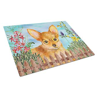 Carolines Treasures  CK1284LCB Toy Terrier Spring Glass Cutting Board Large