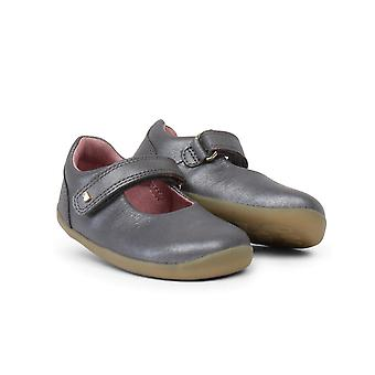 Bobux Step Up Delight Girls Barefoot First Shoes In Grey Shimmer Leather