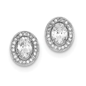 Sterling Silver CZ Pave Oval Post Earrings