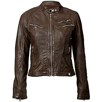 Womens Leather Jacket Brown With Exotic Crumpled Goatskin Leather