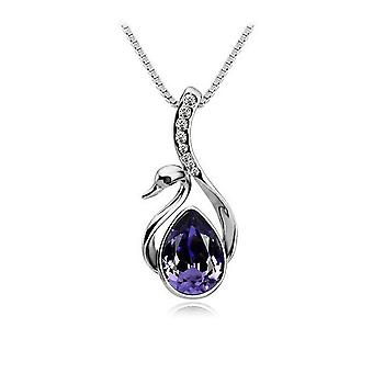 Dark Purple Stone Swan Necklace Fashion Jewellery Necklace Pendant
