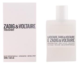 Zadig & Voltaire This Is Her! Eau De Parfume Vapo 50ml Womens New Perfume Spray