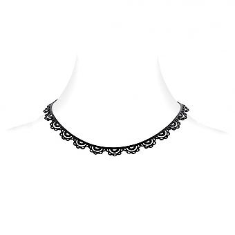 Silicone black effect tattoo lace necklace