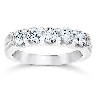 3/4ct U Shape Five Stone Diamond Wedding Ring 14K White Gold