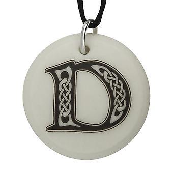Handmade Celtic Initial Round Shaped Porcelain Pendant - Letter 'D'