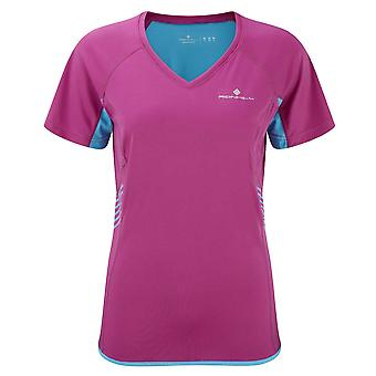 Ron Hill Ladies Aspiration manches courtes Sports Running Tee Cyan Magenta