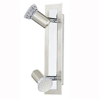 Eglo Rottelo LED dubbele Spotlight In nikkel en chroom