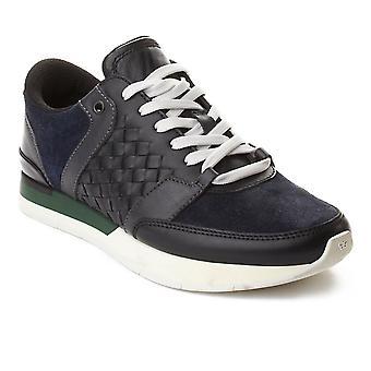 Bottega Veneta mænds Intrecciato læder Sneaker træner sko sort Navy grøn