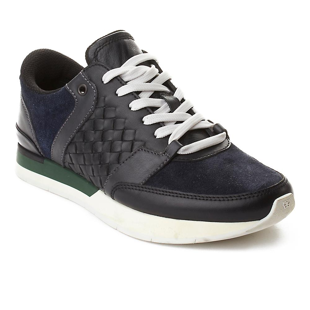 Bottega Veneta Men's Shoes Intrecciato Leather Sneaker Trainer Shoes Men's Black Navy Green e1655f