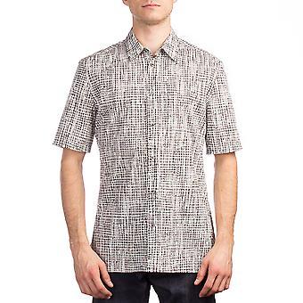 Balenciaga Men's Cotton Checkered Short Sleeve Dress Shirt White