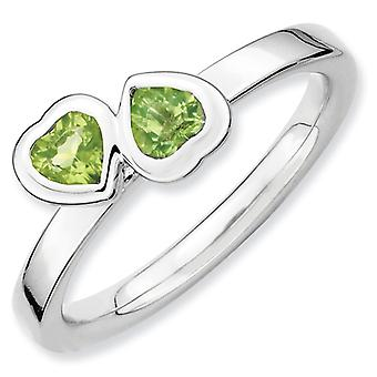 Sterling Silver Bezel Polished Rhodium-plated Stackable Expressions Peridot Double Heart Ring - Ring Size: 5 to 10