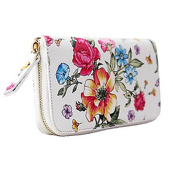 CTM women's wallets genuine leather Flower Pattern Made in Italy