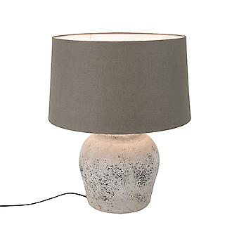 Light and Living Country Round Stone Table Lamp Grey with 40cm Brown Shade - Tamara