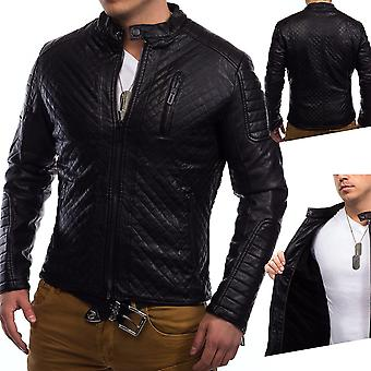 Men lined winter leather jacket biker jacket Coby quilted leatherette