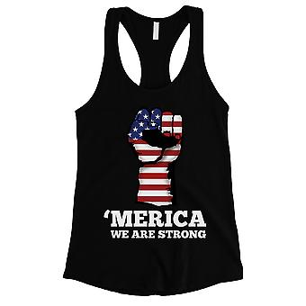 Merica We Strong Womens Black Cute Workout Tank Top 4th Of July