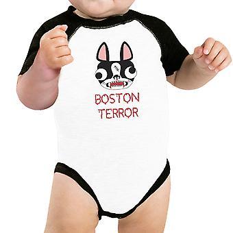 Boston Terror Terrier Baby Raglan Shirt Halloween Baseball Bodysuit