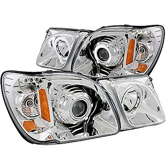 AnzoUSA 111169 Chrome Clear Projector Halo Headlight for Lexus LX470 - (Sold in Pairs)