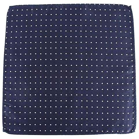 Knightsbridge Neckwear Spotted and Striped Silk Pocket Square - Navy/White