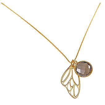 Gemshine - Damen -  Halskette - Anhänger - 925 Silber - Vergoldet - Schmetterling Flügel - Rauchquarz - Braun - 45 cm