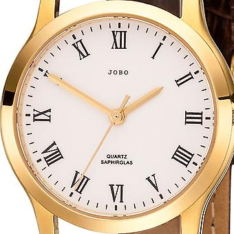 JOBO ladies wrist watch quartz analog stainless steel gold plated leather ladies watch