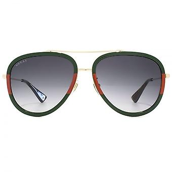 Gucci Pilot Sunglasses In Gold Green Red