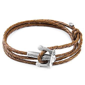 Light Brown Union Anchor Silver and Braided Leather Bracelet