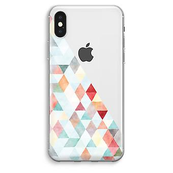 iPhone XS Max Transparent Case (Soft) - Coloured triangles pastel
