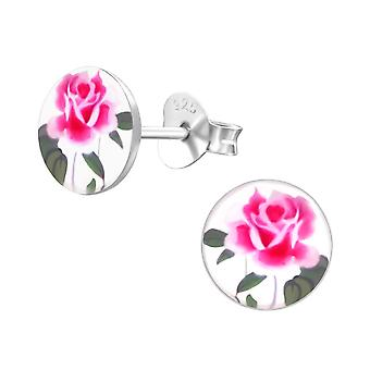 Rose - 925 Sterling Silver Colourful Ear Studs - W19780x