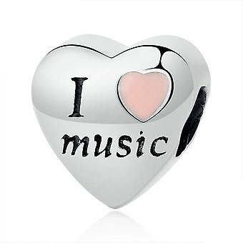 Sterling silver charm Love music