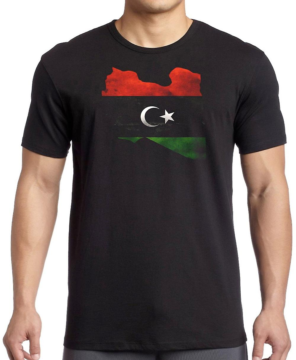Libya Libyan Flag Map T Shirt